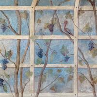 Schloss Bruchsal - Hauptbau - Erdgeschoss - Laubenzimmer - Blick auf einen Ausschnitt der nordwestlichen Wand mit Laubenmalereien (Malereien vermutlich von Giovanni Francesco Marchini, zwischen 1731 und 1736, weitgehend original erhalten, in den 1970er Jahren freigelegt) (aufgenommen im November 2018, am Nachmittag)
