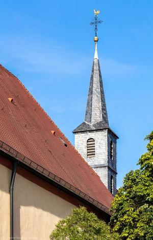 Waghäusel - Wallfahrtskirche - Von Außen / Von Westen - Blick auf den Turm der Marienwallfahrtskirche (aufgenommen im Juli 2019, am frühen Abend)