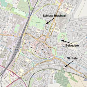 Karte von Bruchsal mit Hinweisen auf das Schloss Bruchsal, das Belvedere und die Kirche St. Peter (Karte: © OpenStreetMap-Mitwirkende; Lizenz: Namensnennung - Weitergabe unter gleichen Bedingungen 2.0 Generic (CC BY-SA 2.0); siehe: www.openstreetmap.org/copyright)