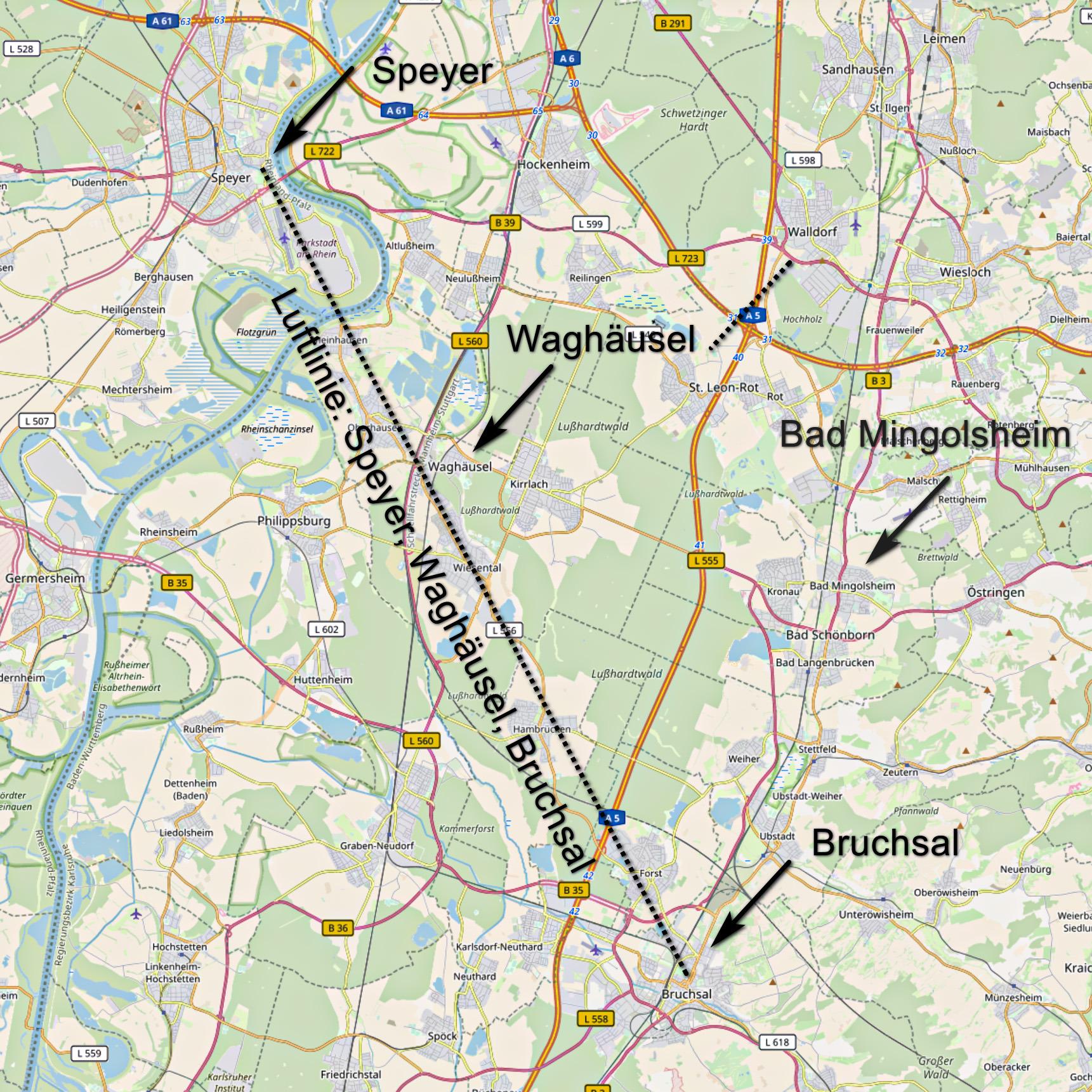 Karte mit den Orten Speyer, Waghäusel und Bruchsal sowie deren Verbindungslinie (Karte: © OpenStreetMap-Mitwirkende; Lizenz: Namensnennung - Weitergabe unter gleichen Bedingungen 2.0 Generic (CC BY-SA 2.0); siehe: www.openstreetmap.org/copyright)