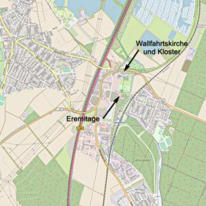 Karte von Waghäusel mit Hinweisen auf die Eremitage und die Wallfahrtskirche und das Kloster (Karte: © OpenStreetMap-Mitwirkende; Lizenz: Namensnennung - Weitergabe unter gleichen Bedingungen 2.0 Generic (CC BY-SA 2.0); siehe: www.openstreetmap.org/copyright)