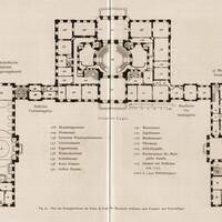 Schloss Bruchsal - Plan Hauptgeschoss Corps de Logis / Kirchenflügel / Kammerflügel - Hans Rott / Franz Xaver Kraus: Die Kunstdenkmäler des Amtsbezirks Bruchsal - 1913